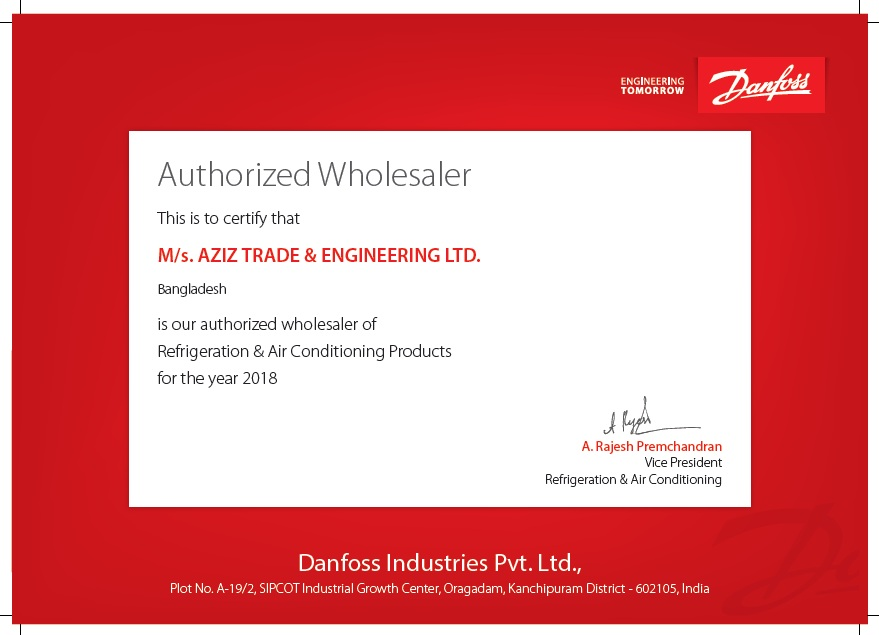 ATEL is the Authorized Wholesaler of Danfoss Industries Pvt. Ltd. of the year 2018